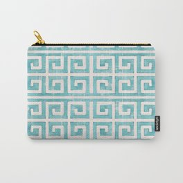 Greek Key Distressed Shabby Beach Cottage Pattern Carry-All Pouch