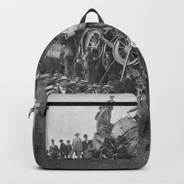 1896 Train Wreck, Buckeye Park in Lancaster, Ohio black and white photography / photograph Backpack
