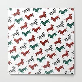 Christmas Dachshunds Red Flannel Metal Print