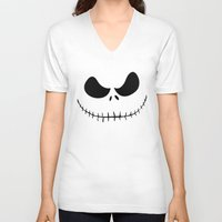 jack skellington V-neck T-shirts featuring The Nightmare Before Christmas - Jack Skellington by Merioris