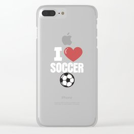 I love soccer ball white Clear iPhone Case