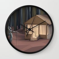 cabin Wall Clocks featuring Cabin in the Woods by CharismArt