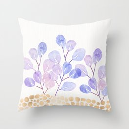 Bonsai Eucalytpus with Metallic Accents Throw Pillow
