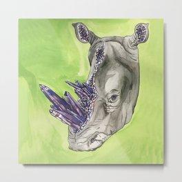 Geode Rhinoceros Metal Print