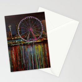 Seattle Wheel at Night Stationery Cards