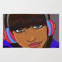 headphones Area & Throw Rugs featuring Headphones Chick by EvanAshley