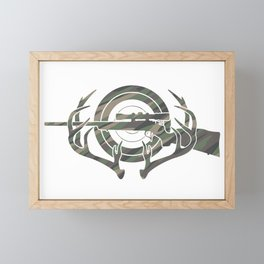 Camouflage Hunting and Shooting Sports Logo with Rifle, Buck Horns and Target Framed Mini Art Print