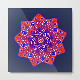 Red White and Blue Mandala star swirl Metal Print