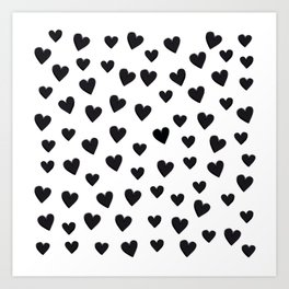 Hearts Love Black and White Pattern Art Print