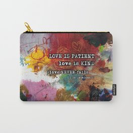 Love NEVER FAILS Scripture Bible Verse Abstract Art Painting by Michel Keck Carry-All Pouch