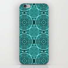 Turquoise abstract seamless lace pattern texture background iPhone & iPod Skin