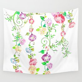 Floral Abstract on White Background Wall Tapestry