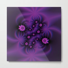 Berry Colored Fractal Flowers Metal Print