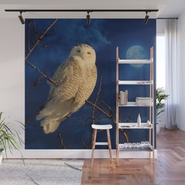 The owl and mystical moon Wall Mural