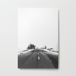 SNOW - WHITE - ROAD - WAY - TRIP - ADVENTURE Metal Print