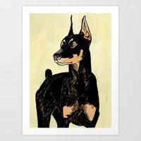 doberman Art Prints featuring Doberman by Cassandra Jean
