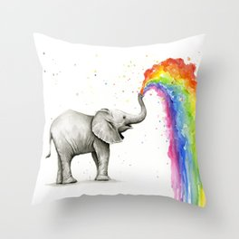 Rainbow Baby Elephant Throw Pillow