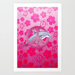 Dolphin Pink Peace Sign And Flowers Art Print
