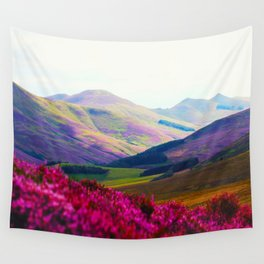Beautiful Candy Land Fairytale Fantasy Landscape Purple pink Flowers Rolling Hills Moutains Wall Tapestry