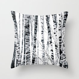 Birch Trees In Winter Throw Pillow