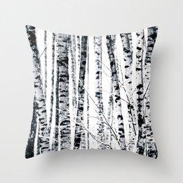 Birch Trees In Winter Throw Pillow