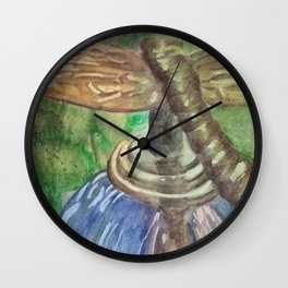 Garden Party Dragonfly Wall Clock