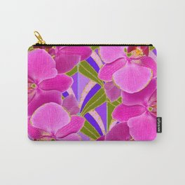 Pink & Fuchsia Purple Art Deco Orchids Art Carry-All Pouch