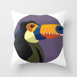 Dino-Toucan Throw Pillow