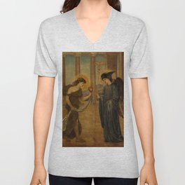 """Edward Burne-Jones """"Cupid and Psyche - Palace Green Murals - Psyche entering the Portals of Olympus"""" Unisex V-Neck"""