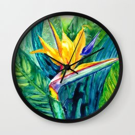 Bird of Paradise Watercolor Wall Clock