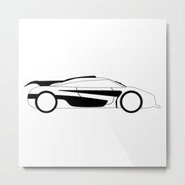 Modern Fast Car Outline Metal Print