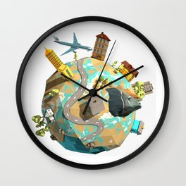 World in Low Poly Style Wall Clock