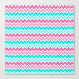 Turquoise Aqua Blue and Hot Pink Ombre Chevron Canvas Print