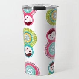 dolls matryoshka on white background, pink and blue colors Travel Mug