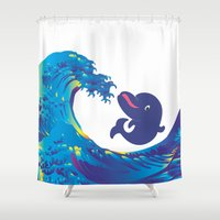 hokusai Shower Curtains featuring Hokusai Rainbow & Babydolphin by FACTORIE