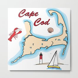 Cape Cod Map with Sailboat, Lighthouse, Lobster, and Shell Metal Print