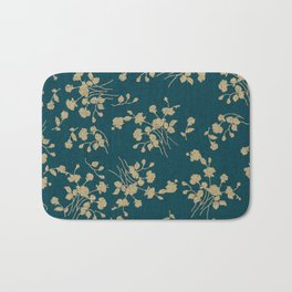 Gold Green Blue Flower Sihlouette Bath Mat