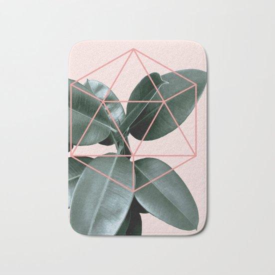Geometric greenery III Bath Mat