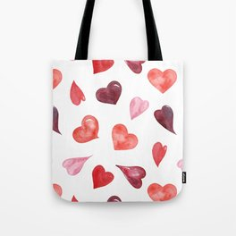watercolor love pattern with hearts Tote Bag