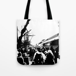 ALL ABOARD! Waiting to get on the Train! Tote Bag