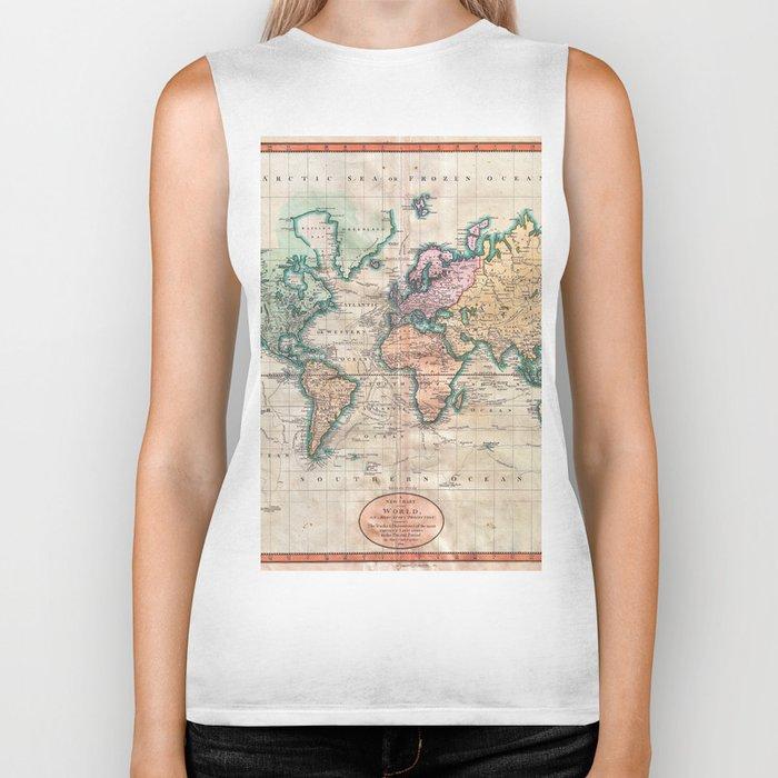 Vintage World Map 1801 Biker Tank