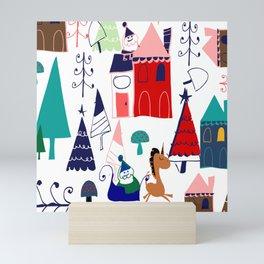 Christmas unicorn Mini Art Print
