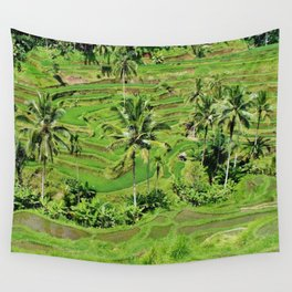 Greenery paddy fields rice crops Wall Tapestry
