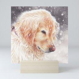 Winter dog colored pencils illustration Mini Art Print