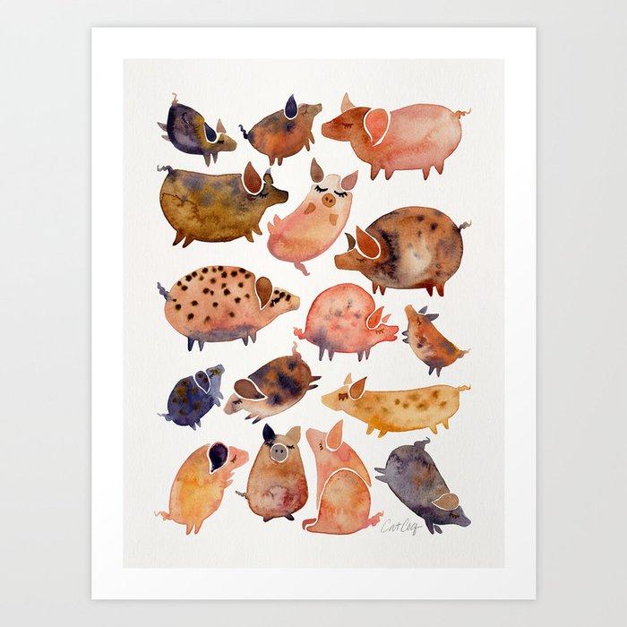 Pig Collection Art Print