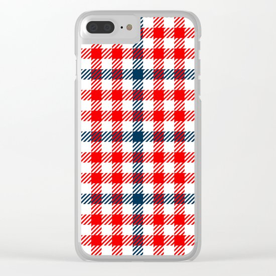 Red & Blue Gingham Pattern Clear iPhone Case