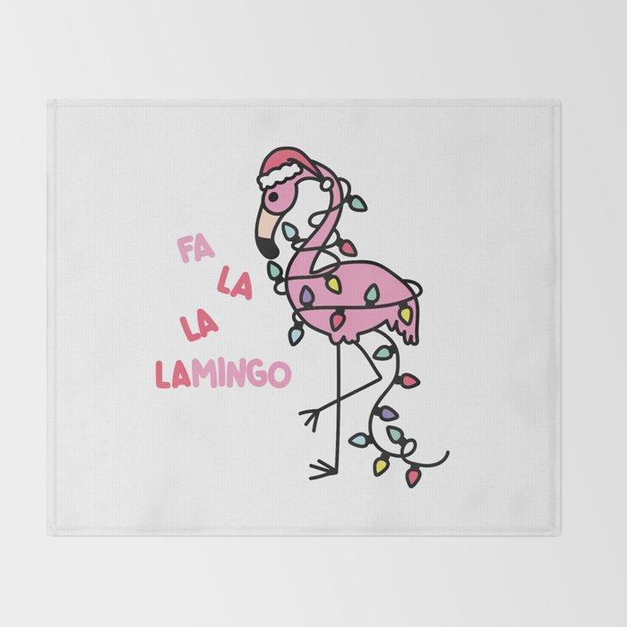 Christmas Flamingo Throw Blanket