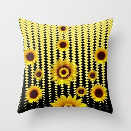 YELLOW SUNFLOWERS BLACK ABSTRACT PATTERNS ART Throw Pillow