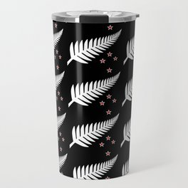 New Zealand Silver Fern Flag Black Pattern Travel Mug