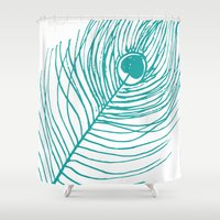 peacock feather Shower Curtains featuring Peacock Feather by AleDan